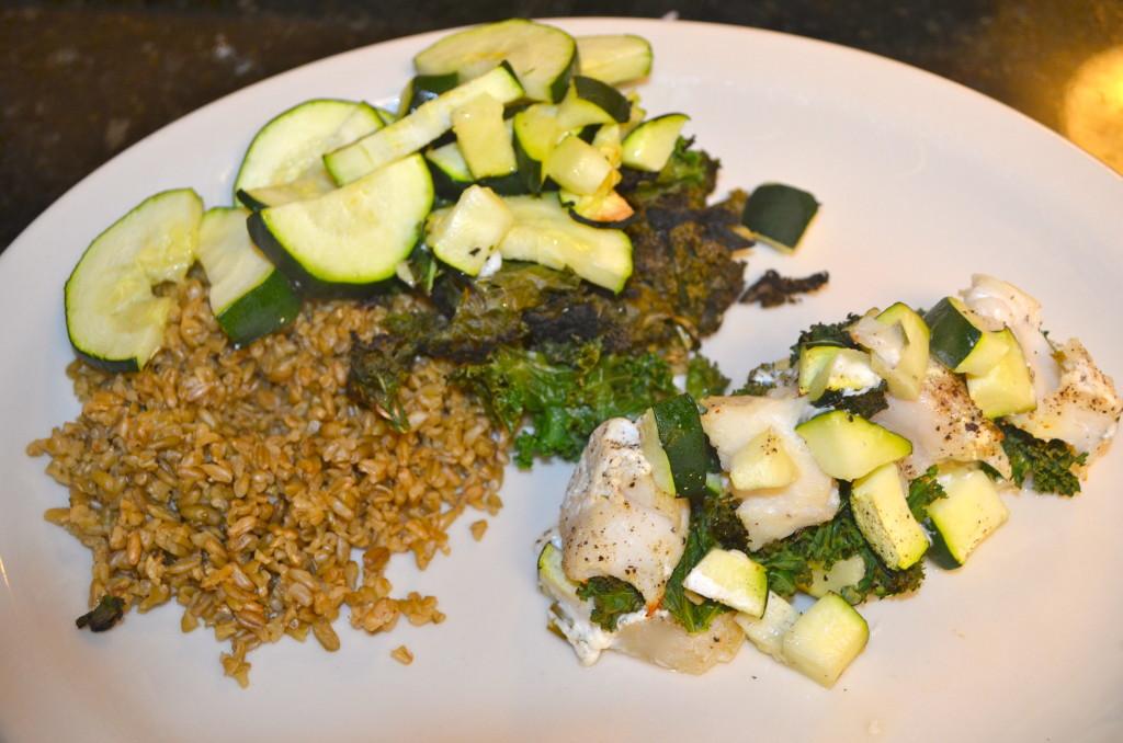 Stuffed Cod with zucchini, kale, and freekah