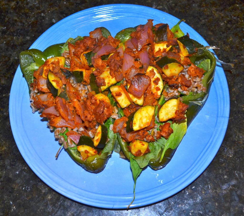 Stuffed Soyrizo Pepper. Healthy, spicy, filling!