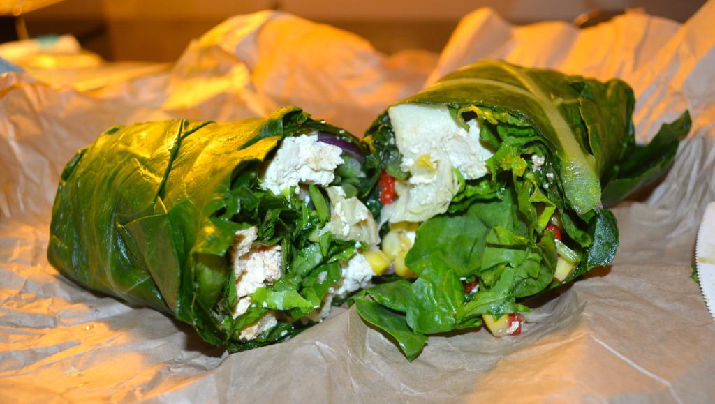 Dinner. Collard green vegan wrap with tofu. So delicious.