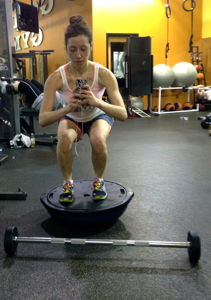 Bosu squatting. Get down low baby!