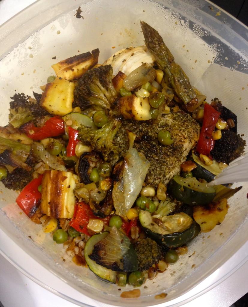 Roasted veggies, chicken breast, wheat berries