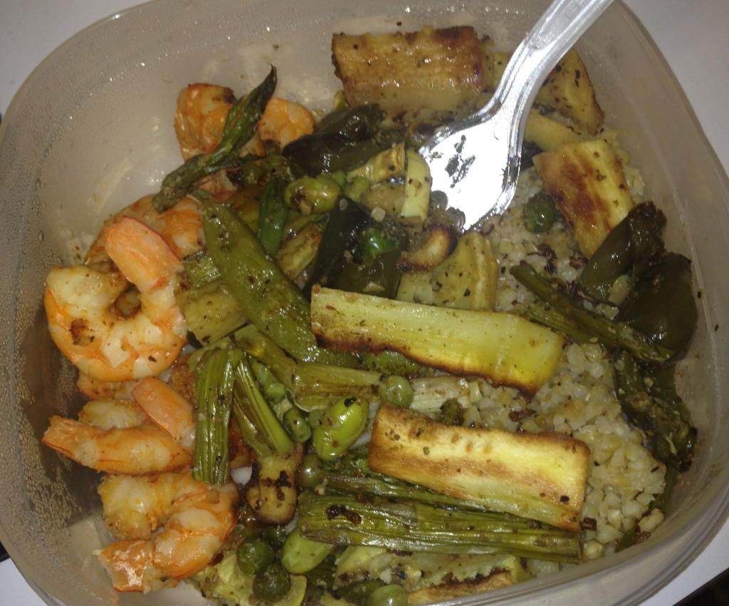 Mixed veggies with garlic herb Ms Dash, quinoa blend, and 3 oz shrimp!