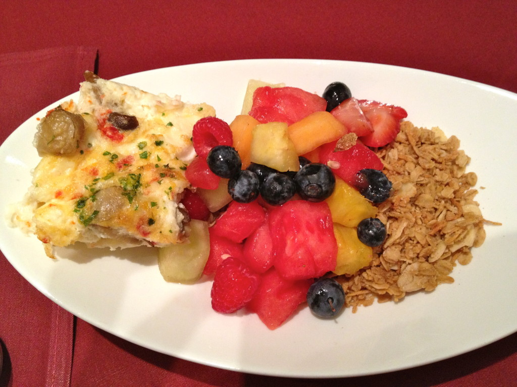 Egg white frittata (it was really good), fresh fruit, and granola again!